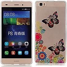 Huawei p8 lite Custodia,KSHOP TPU Custodia conchiglia Caso Case Cover in silicone morbido Flessibile TPU modelli colorati - Farfalla