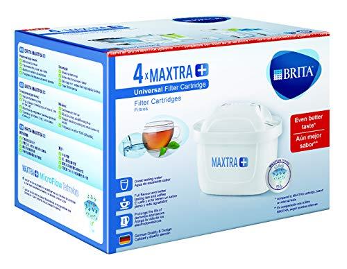 BRITA MAXTRA+ - 4 Filtros, Cartuchos de Filtrado para el Agua, Recambios Compatibles con Jarras BRITA que Reducen la Cal y el Cloro