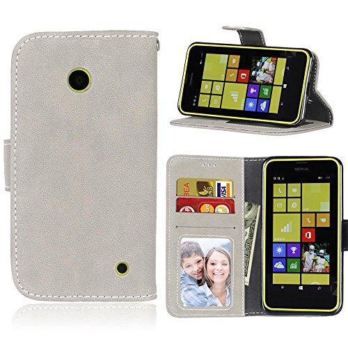 BONROY® Cuir Premium Coque pour Nokia Lumia 630/635, Portefeuille Etui Housse pour Nokia Lumia 630/635