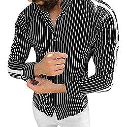 Yesmile ❤️ Camisas Hombre Deportes Rayas Manga Larga Slim Fit Camisas Hombre Lino Camisas Hombre Originales Negocio Tops Blusa Hombre Blanca Otoño Slim Ajustado