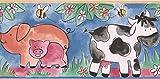 RetroArt Schwein Kuh Ente Bee blau Kinder Tapete Bordürenmuster Cartoon, Roll-15' x 7''