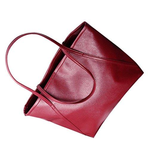 Donne Messenger Borse - TOOGOO(R)Donne semplice pelle di maggiore Messenger Borse Shopping Bag NuovoColor:rosa rosso