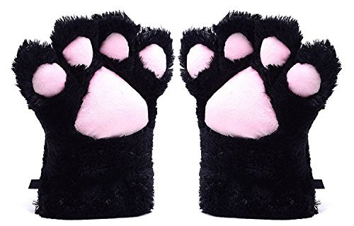 BingHang Women Cosplay Cat Paw All Cover Warm Gloves for women and girls (Black)
