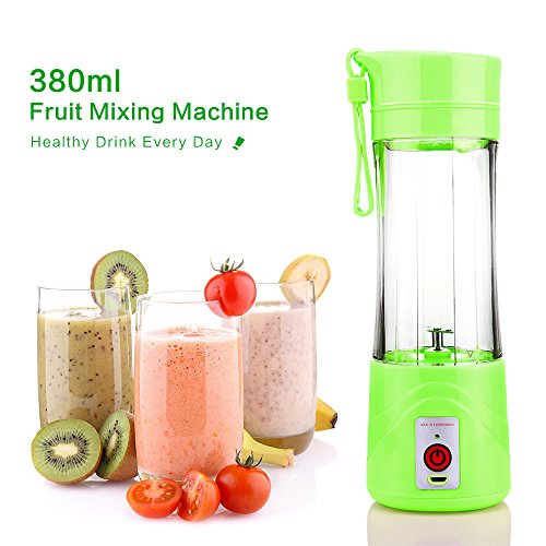 ABEDOE Mini USB Juicer Maker, 380ml Eletric Recargable Juice Blender con cargador USB 2 cuchillas para una excelente mezcla (Green)