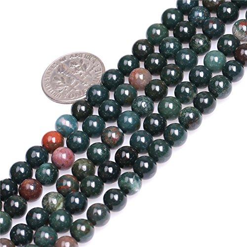 "4mm Natural redondo verde oscuro sangre piedra cuentas para bisutería Strand 15"", 6mm Green, 6 mm"