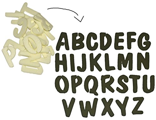 Unbekannt 45 TLG. Set Streudeko / Deko - 2,5 cm Buchstaben - Creme / Hell - Alphabet ABC Tischdekoration / Streumaterial zum Basteln Deko Schulanfang groß -