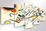 Degona Quadro Moderno Kandinsky Composizione VIII - 5 pz. cm 200x90 Stampa su Tela Canvas Arredamento Arte Arredo Astratto XXL