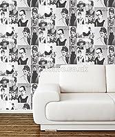 Audrey Hepburn Black / White Statement Wallpaper 97780 from Holden Decor