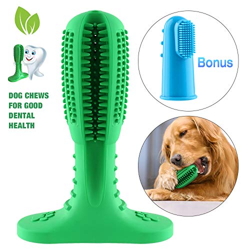 WILLNORN Hundezahnbürste, Hundezahnbürstenstock fùr Kauen Zahnpflege,Hundezähne Reinigen Ungiftig Gummis Bissfeste Hundespielzeug