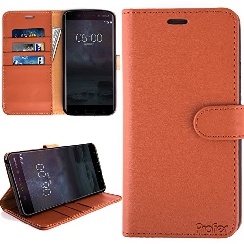Nokia 6 Hülle, Profer [Premium Leder Serie] Schutzhülle PU Leder Flip Tasche Case mit Integrierten Kartensteckplätzen und Ständer für Nokia 6 (Leder-Braun)