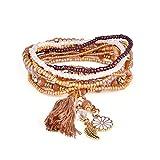 Manyo Femmes Bracelet Bohème Chic Bracelet pour Femmes Multicouche Perlé Gland Pendentif Chaîne Cadeau pour Filles (D)