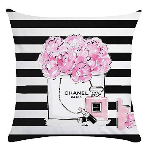 UUOnly Moderne Parfüm Dekokissenbezüge, dekorative Baumwolle Leinen Platz Kissenbezug für Mädchen Frauen Sofa Couch Schlafzimmer, 18