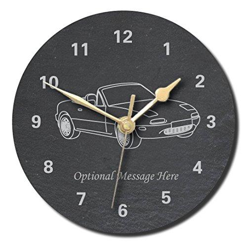 notts laser Mazda MX5 Mk1 Design Schiefer-Uhr – personalisierbar mit Wunschtext (Medium, 200 mm)
