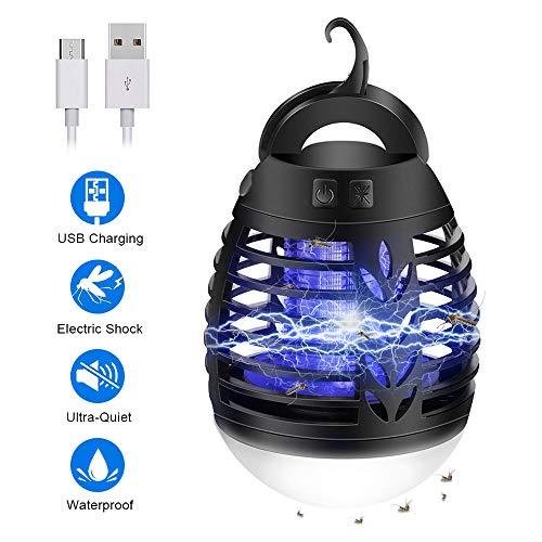 mixigoo, Elektrischer UV Mückenlampe 2-In-1 IP66 wasserdichte Bienenfalle Campinglampe USB Wiederaufladbar Tragbare Bienenkiller LED Laterne für Innen-und Außeneinsatz, Black