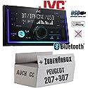 Autoradio Radio JVC KW-X830BT - Bluetooth MP3 USB - Einbauzubehör - Einbauset für Peugeot 207 307 - JUST SOUND best choice for caraudio