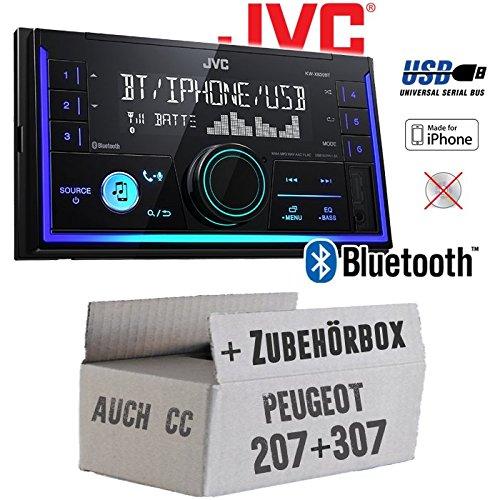 Peugeot 207 307 - Autoradio Radio JVC KW-X830BT - Bluetooth MP3 USB - Einbauzubehör - Einbauset