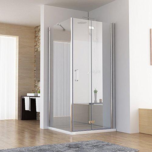 120 x 70 x 197 cm Duschkabine Eckeinstieg Dusche Falttür Duschwand mit Seitenwand NANO