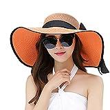 Women Floppy Hat Big Bowknot Straw Hat Wide Orange Brim Beach Hat Sun Hat