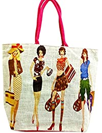 Sankh 18x14.5 Inch Jute Fashion Bag-Jute Printed Fashion Shoppers Bags