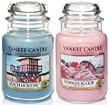 Rare Official Yankee Candle Set Of 2 Classic Signature Large Jars - Beach Holiday & Summer Scoop