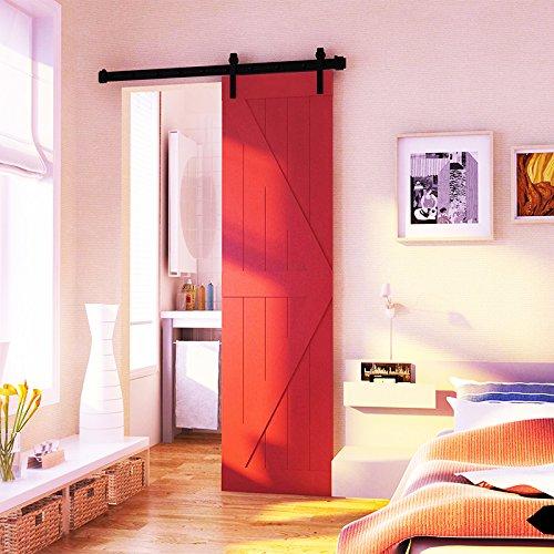 hahaemall 2,4m/2,44m stile moderno Bending Kit Rullo per porta scorrevole Hardware pista fienile in acciaio (Singolo Barndoor)