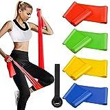 Fitnessbänder 4er-Set 2 x 1.5 m, Widerstandsbände Gymnastikband Trainingsband Theraband Set (Leicht,MIttel,Schwer,X-Schwer) für Pilates Yoga Krafttraining