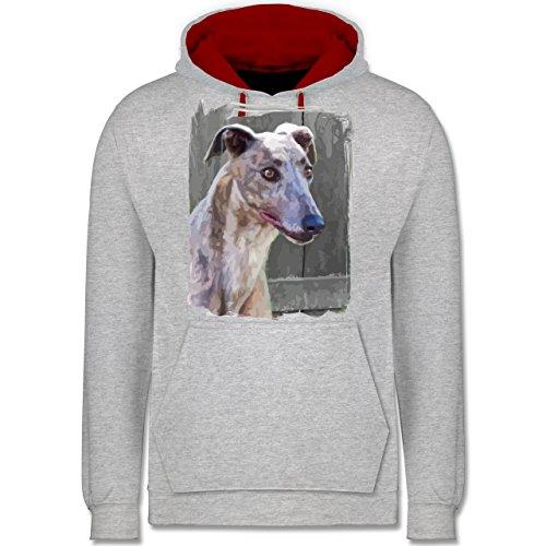 Hunde - Windhund - Kontrast Hoodie Grau Meliert/Rot