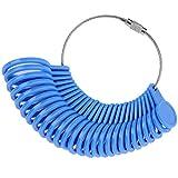27 Piezas de Medidor de Tallas de Anillos de Plástico Medidor de Dedo A - Z Herramienta de Medir Anillo Kit de Joyería (Azul)
