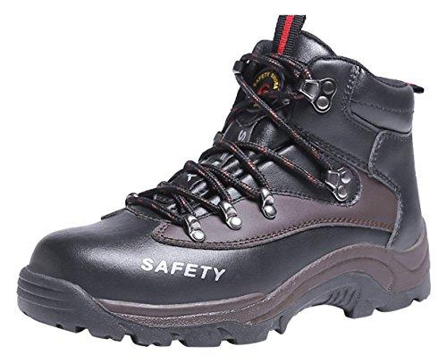 Sneakers Scarpe Uomo da Lavoro Antinfortunistiche in Acciaio Sportive Scarpa Antiperforazione Estive Nero+Caviglia-Alta 41 EU