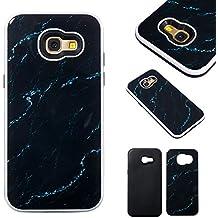 Funda Samsung Galaxy A5 2017, 5.2 pulgadas, Cáscara Samsung Galaxy A5 2017, Alfort Casco de Protección PC + TPU Material de la PC + TPU de alta calidad diseño de moda líneas de mármol negro