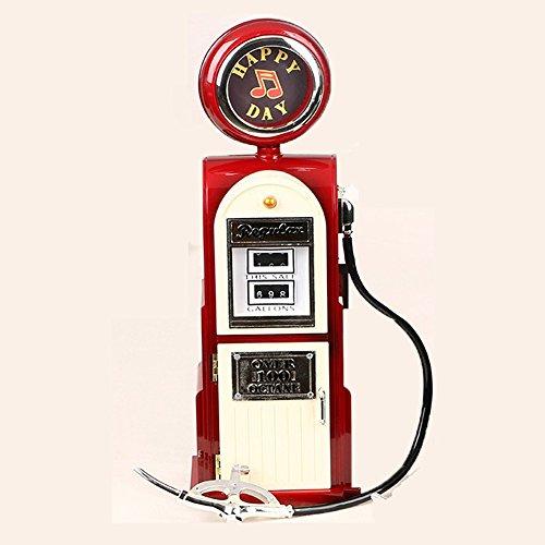 MBXLBIG Spieluhren Spieldose Musikbox Retro Geschenk Spieluhr Kreative Nostalgische Tankstelle Dekoration Weihnachten Neujahr Geschenk (Rot) Taufe Boy Music Box