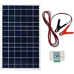 ECOWORTHY Kit de système de panneau solaire 10 W 12 V Module solaire avec contrôleur de charge 3 A avec câbles de batterie, chargeur de batterie 12 V pour bateau RV 10 W