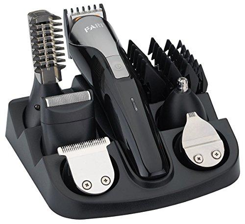 FARI Multigroom-Set für Gesicht, Haare und Körper, Bartschneider und Haarschneider für Männer, 11 Aufsätze (schwarz/metal) (Gesichts-haarschneider Multigroom)