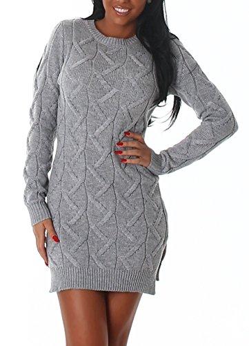 Damen Strickkleid im Grobstrickmuster, auch als Longpulli tragbar, in vielen Trendfarben erhältlich, modisch elegant Grau