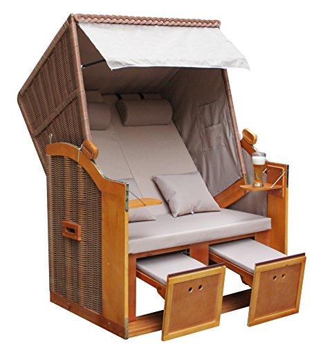 WOHNWERK Zweisitzer Strandkorb Nordsee de Luxe – Exklusiv für Amazon im Komplettset – mit Schutzhülle + 4 Kissen! - 3