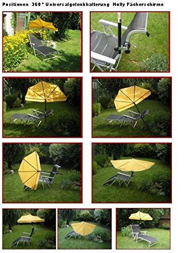 Soleil Liegen - Set - 5,5 Kg - Stabielo légère - Bracelet Lehen - Relax - Loisirs chaise longue avec coussin de nuque réglable - en aluminium - chaise longue de jardin - Camping - 190 x 62 x 29 cm - Accoudoirs réglables - Couleur : titanium + compartiments Parapluie Holly 'Sun® - Couleur maïs jaune + pivotant à 360 ° universel gelenkhalterung - Distribution par Holly® produits Distribution Stabielo® - Holly Sunshade®