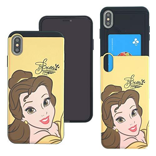 isney Princess Slim Slider Cover : Kartenschlitz, stoßdämpfend, doppellagige Halterung für [iPhone XS Max], Face Belle (iPhone XS Max) ()