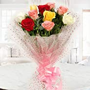 The FloralMart® Fresh Flowers Bunch of 10 Mixed Roses in Cellophane Wrapping, Bunch of 10, Medium (Multicolour