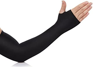 Sepal Arm Sleeves, Fully Stretched Skinny Fit Fingerless Arm Sleeves With Thumb Hole