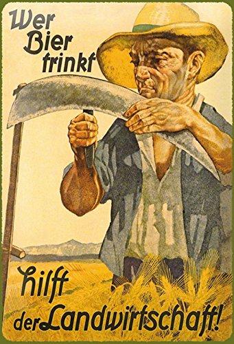 Schatzmix Wer Bier trinkt hilft der Landwirtschaft! Blechschild