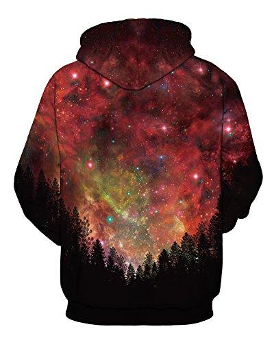 AureQet Unisex Realistische Herren 3D Galaxy Kapuzenpullover Pullover Hoodie Kapuzen Langarm Sweatshirt Kapuzenjacke schwarze Bäumer - roter Himmel