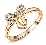 Epinki, Vergoldet Damen Versprechen Ringe Schmetterling Knit Zirkonia Gr??e 57 (18.1) Rose Gold