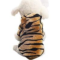 Hunde Katzen Kleidung Kapuzenpulli für Kleine Haustier Männchen und Weibchen Flanell Tiger Muster Schlafanzug Jumpsuit für Welpen(Kaffee, M)