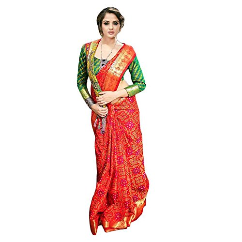 Women's Patola BANARASI SILK Sarees With Blouse Piece(Orange Green Color)