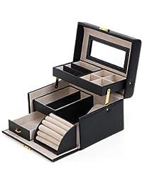 Songmics Boîte à bijoux 22,5 x 17 x 13,5 cm Noir JBC114
