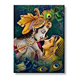#7: TYYC New Year Gift Items, Joyful Krishna Radha Canvas Wall Paintings, Hangings for Home Decor, Religious spiritual Hindu gifts - 9 x 12 inches