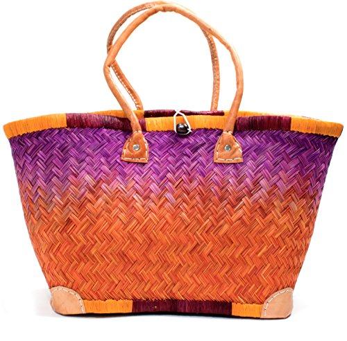 Madagaskar Korbtasche Strandtasche S- XXL Ibiza Basttasche Damen Lederhenkel Orange- Violet (Small) (Raphia Madagaskar)