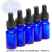 Preisvergleich für 5er-PACKUNG - 10ml BLAUGLAS-Flaschen mit GLAS-Pipetten. Ätherisches Öl / Verwendung in Aromatherapie