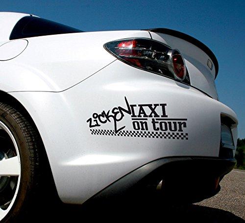 _AF070 Auto-Aufkleber Tattoo für Auto lustiges Spruch Spruch Zicken Taxi on Tour | Heckscheiben-Aufkleber Selbstklebend (57x20cm//070 Schwarz) ()