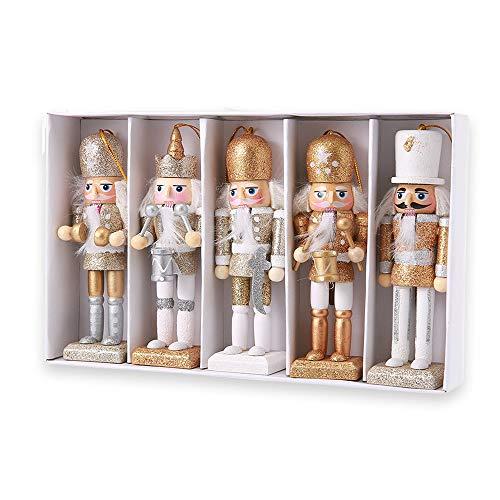 Womdee Nussknacker-Ornament-Set, Holz, Nussknacker-Figuren, Soldat Puppet, Spielzeug für Weihnachten, Party, Outdoor, Hof, Baum, Hängedekoration, 12 cm Color 1